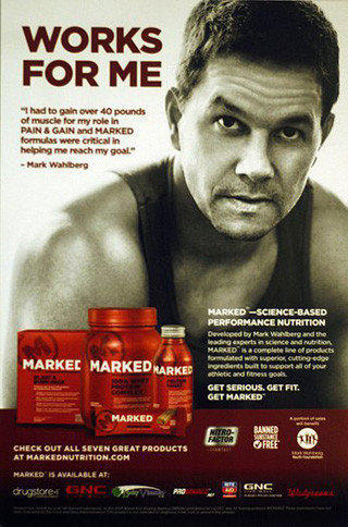 "Promotional materials touting GNC's Marked nutritional supplements line also advertise Paramount Pictures' ""Pain & Gain."""