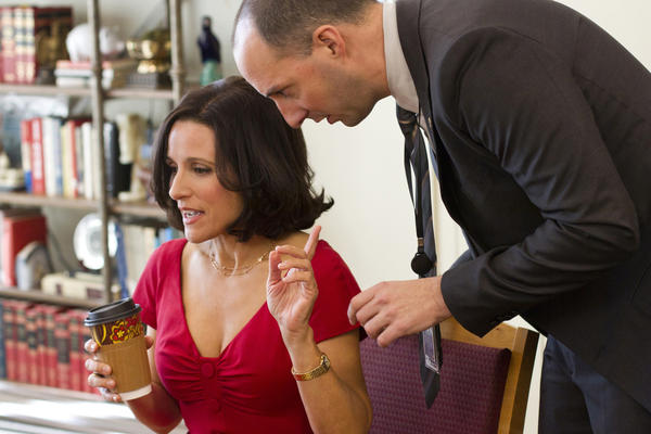 Julia Louis Dreyfus as Vice President Selina Meyer and Tony Hale as her devoted assistant, Gary.