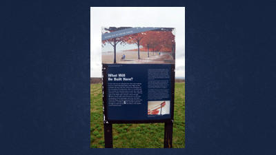 This sign marks the spot of the Flight 93 National Memorial Visitor Center.