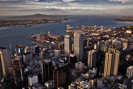 A view of downtown Auckland, New Zealand, as seen from the Sky Tower.