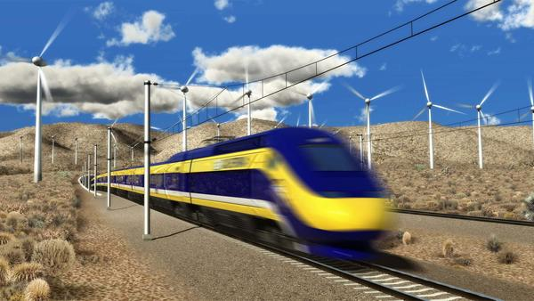 A drawing shows one of the high-speed trains that are projected to run from Los Angeles to San Francisco at speeds of up to 220 mph.