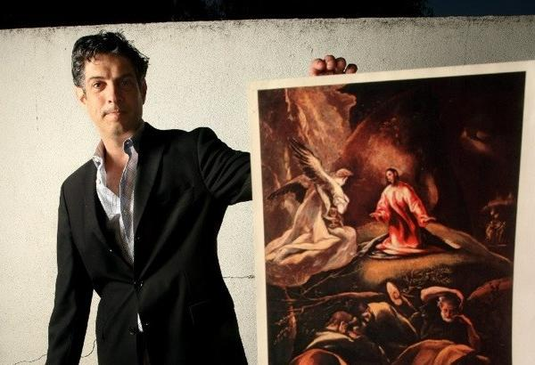 "David de Csepel holds a photocopy of El Greco's ""The Agony in the Garden,"" one of the works he is trying to recover from the Hungarian government."