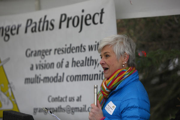 Barbara Fredman, president of Friends of Granger Paths, says a few words today before the groundbreaking for the initial phase of the trail. (South Bend Tribune/SANTIAGO FLORES)