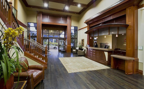 The lobby of West Inn and Suites in Carlsbad.