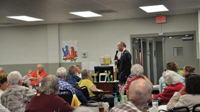 Pennsylvania Secretary of Aging Brian Duke speaks with seniors at the Somerset Senior Center Friday.