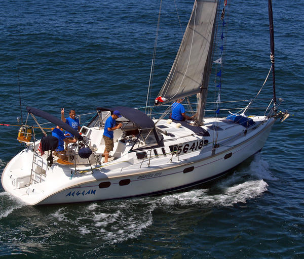 The Aegean with crew members at the start of last year's Newport-Ensenada yacht race.