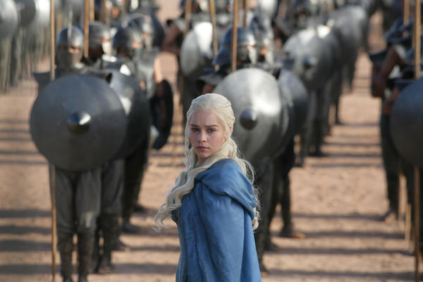 Daenerys Targaryen (Emilia Clarke) makes a fiery offer for fighting men.