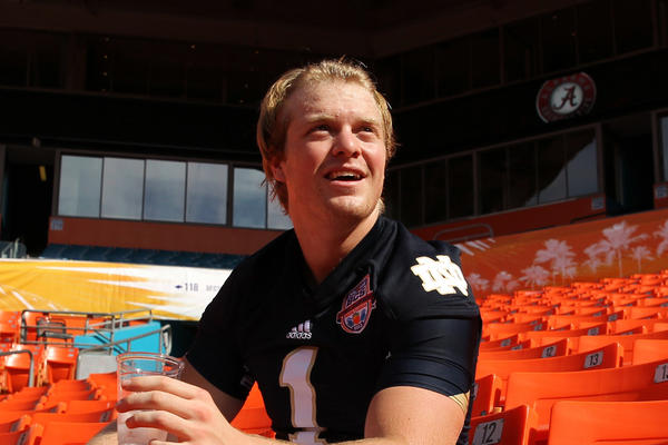 Notre Dame's Gunner Kiel sits in the stands during 2013 BCS National Championship Game Media Day.