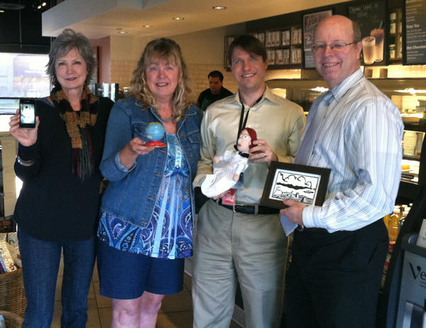 Kathleen Janson, Lynn Scheid, Michael Miller and Alan Ray meet for the first time – in person, at least – at a Starbucks in Costa Mesa.