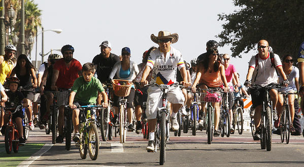 Cyclists pedal down Spring Street at last year's CicLAvia.