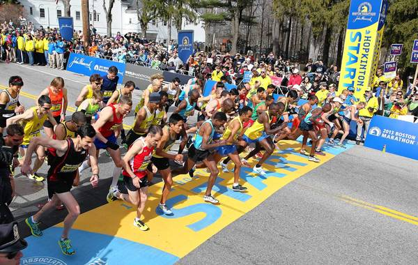 As these elite men -- shown at the start of this year's Boston Marathon -- know, there's a special bond between marathon runners.