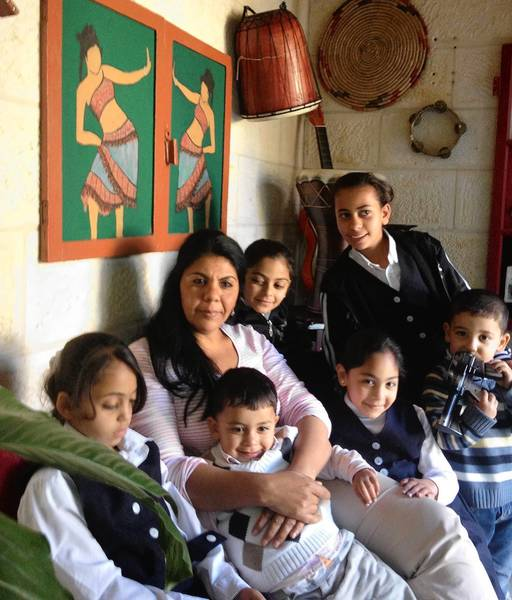 Amoun Sleem with some of the children served by her Domari Society of Gypsies in Jerusalem.
