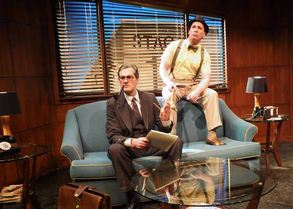 """Shaun O'Hagan as Raymond Chandler and Kevin Blake as Billy Wilder in """"Billy & Ray,"""" which is playing at the Falcon Theatre in Burbank."""