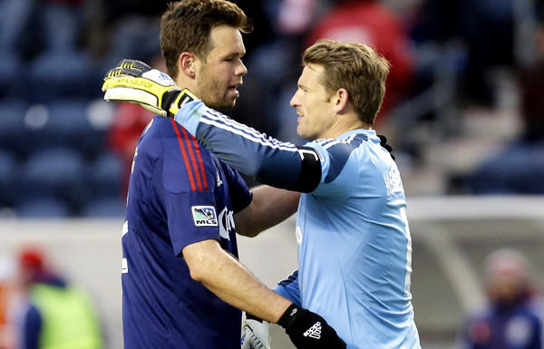 Defender Bobby Burling and goalkeeper Dan Kennedy embrace after Chivas USA defeated the Chicago Fire, 4-1, in an MLS game last month.