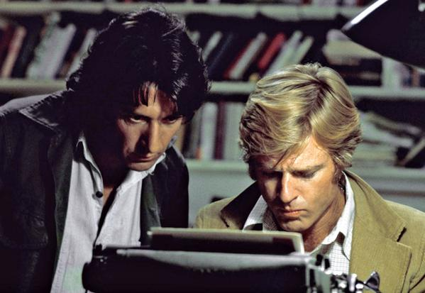 "Actors Robert Redford, right, and Dustin Hoffman appear in their roles as reporters Bob Woodward and Carl Bernstein, respectively, in the 1976 film ""All the President's Men."" The documentary ""All the President's Men Revisited"" airs Sunday at 8 p.m. on the Discovery Channel."