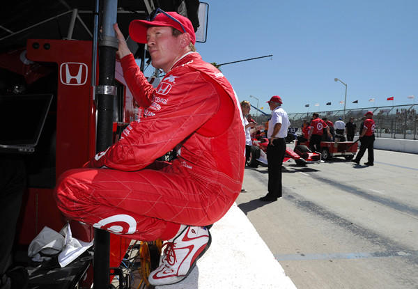 IndyCar driver Scott Dixon relaxes Friday during practice for the Toyota Grand Prix of Long Beach.