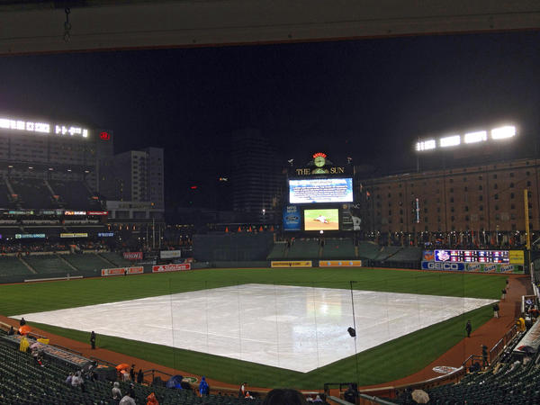 The tarp is covering the infield at Camden Yards with the Orioles in the midst of a rain delay against the Los Angeles Dodgers on Friday.
