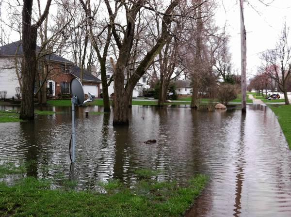 Lawns underwater near 60th Street and Fairview Avenue.