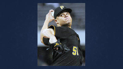 Pittsburgh Pirates starting pitcher Wandy Rodriguez on the mound pitching against Atlanta in the fourth inning of a baseball game at PNC Park Friday.