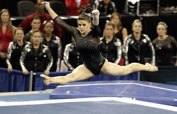 Georgia's Brandie Jay competes in the floor exercise at the NCAA women's gymnastics championship Friday at Pauley Pavilion