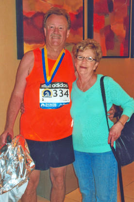 Rick Kammerer, left, and his mother, Cleo Tchida, pose for a photo after Monday's Boston Marathon. Kammerer, a Groton native, now lives in Mason City, Iowa. Tchida lives in Aberdeen.