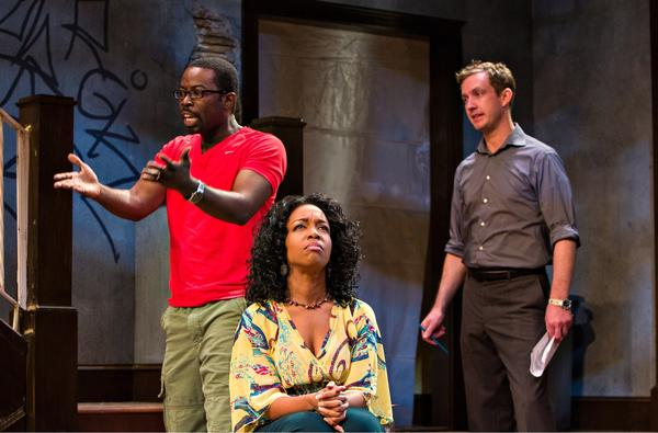 """Charlie Hudson III, Jessica Frances Dukes, and Jacob H Knoll in Center Stage's production of """"Clybourne Park."""""""