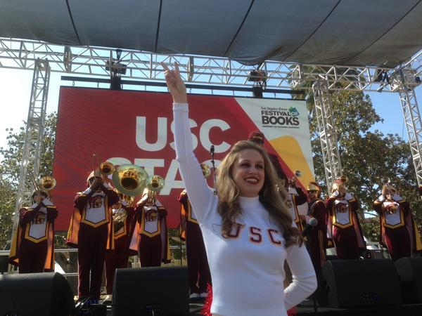 The USC Trojan Band and Song Girls at the kickoff of the Los Angeles Times Festival of Books.