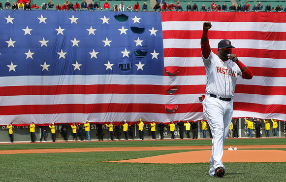 David Ortiz of the Boston Red Sox speaks during a pregame ceremony in honor of Monday's Boston Marathon bombing victims before a Saturday game at Fenway Park in Boston.