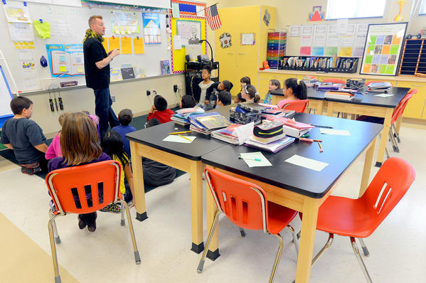 A science lab at Pangborn Elementary School was converted in to Jeremy Trammelle's 3rd grade classroom due to overcrowding at the Hagerstown school.