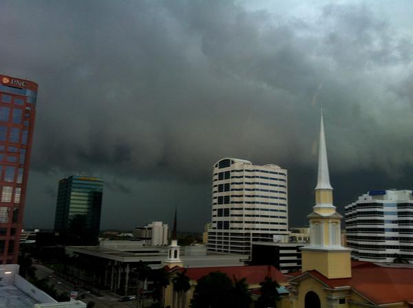 Stormy weather is seen in downtown Fort Lauderdale on Saturday afternoon.
