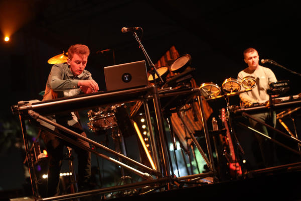 Guy Lawrence, left, and Howard Lawrence of Disclosure during the first weekend of the Coachella Valley Music and Arts Festival on April 14, 2013 in Indio.