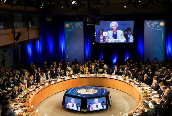 IMF managing director Christine Lagarde addresses officials at the IMF and World Bank spring meetings in Washington.