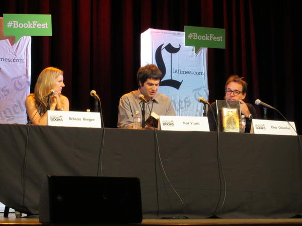 "L.A. Times staff writer Rebecca Keegan, author Ned Vizzini and author and filmmaker Chris Columbus discuss ""House of Secrets"" at the Los Angeles Times Festival of Books on Saturday."