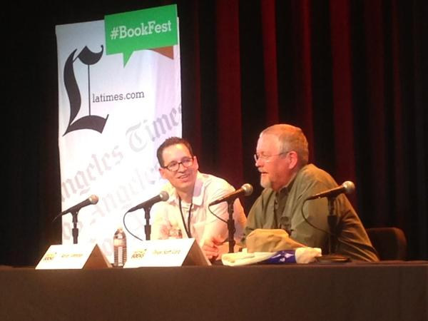 Orson Scott Card, right, with moderator Aaron Johnston at the 2013 Los Angeles Times Festival of Books.