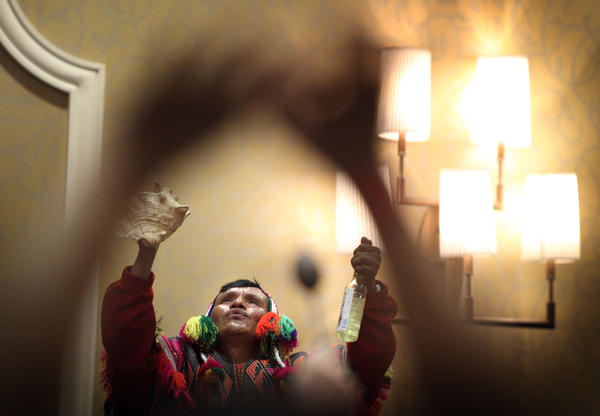 Don Pascual Flores, a mountain shaman from the Peruvian Andes, performs a healing ceremony Saturday at the Renaissance Fort Lauderdale Cruise Port Hotel. Flores, who is in South Florida to host a series of ceremonies and workshops, will return home on May 6.