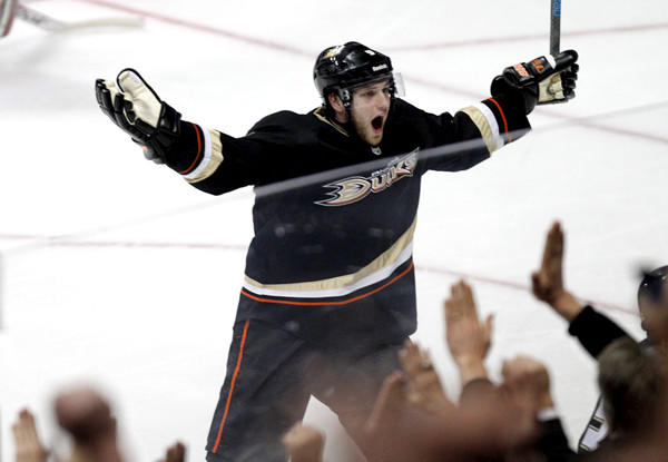 Ducks right winger Bobby Ryan celebrates after Teemu Selanne's game-winning goal against the Blackhawks last month. Anaheim is hoping to spark some more offensive magic as the season moves toward the playoffs.