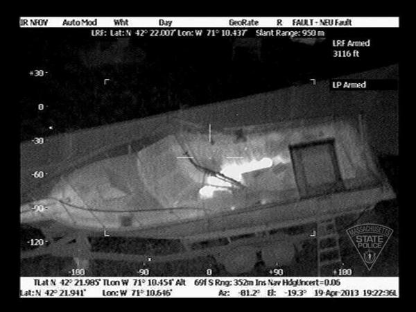 An infrared device detects bombing suspect Dzhokhar Tsarnaev hiding in a covered boat in Watertown, Mass.