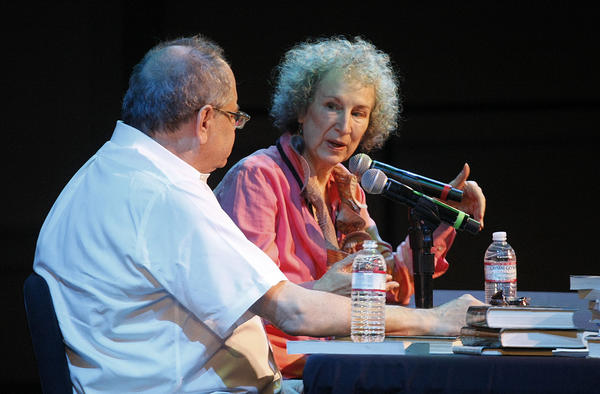 LOS ANGELES, CALIFORNIA: APRIL 20, 2013: Margaret Atwood (right) in conversation with Michael Silverblatt (left) at the 2013 Los Angeles Times Festival of Books on the campus of the University of Southern California on April 20, 2013. (Gary Friedman/Los Angeles Times)