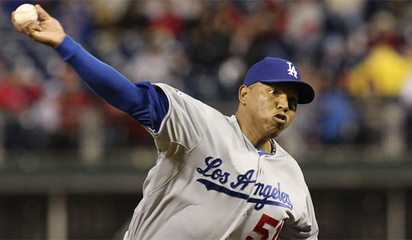 Dodgers reliever Ronald Belisario has a 4.91 ERA in nine games this season.