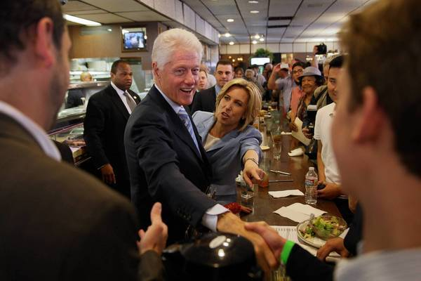 Former President Clinton and candidate Wendy Greuel greet supporters during a mayoral campaign event at Langer's Deli in Los Angeles. Greuel served in the Clinton administration and was an early supporter of Hillary Clinton's unsuccessful 2008 presidential bid.