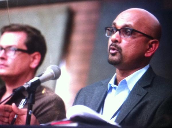 Los Angeles Times Editor Davan Maharaj, right, and staff writer Jason Felch talk about accountability at the newspaper.