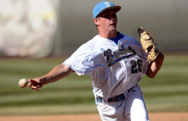UCLA closer David Berg, shown during a game last season, worked 1 1/3 innings Saturday against Oregon to earn his 10th save.
