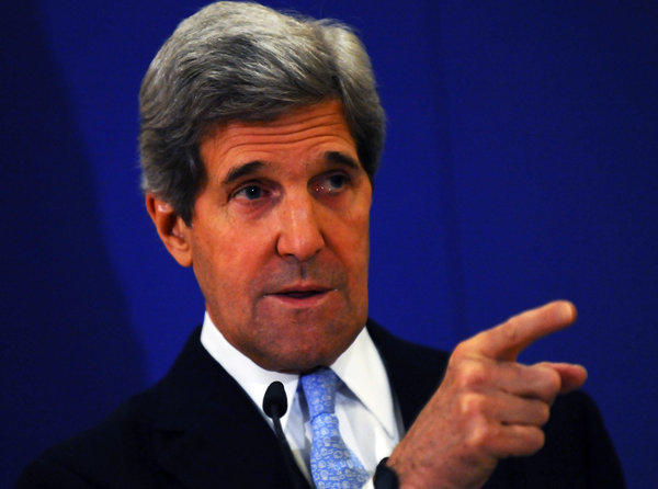 Secretary of State John F. Kerry speaks during a news conference in Istanbul.