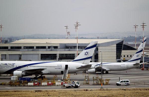 El Al planes parked at Ben Gurion airport near Tel Aviv, Israel, on Sunday.
