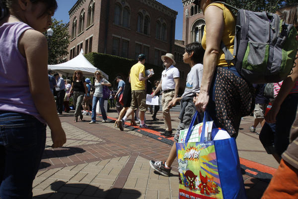 Crowds at the Los Angeles Times Festival of Books at USC.