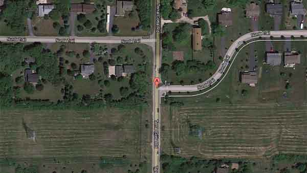 The location of an April 13 motorcycle crash in unincorporated McHenry County involving a Crystal Lake man who later died.
