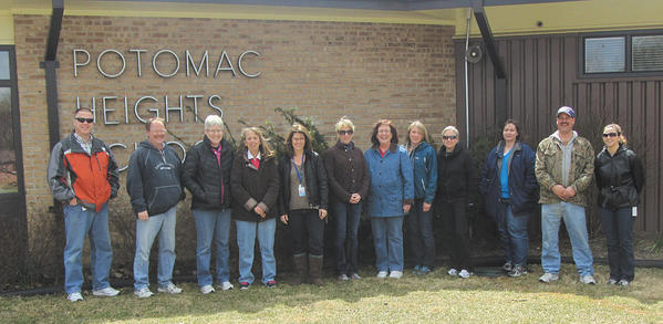 The participants in National Walking Day, from left, Bill Mott, James Barnhart, Donna Wagner, Becky Myers, Kelly Morton, Julie McGee, Kathy Strine, Kim Brooks, Mary Overfield, Kristen Stewart, Jack Blair and Kate White.