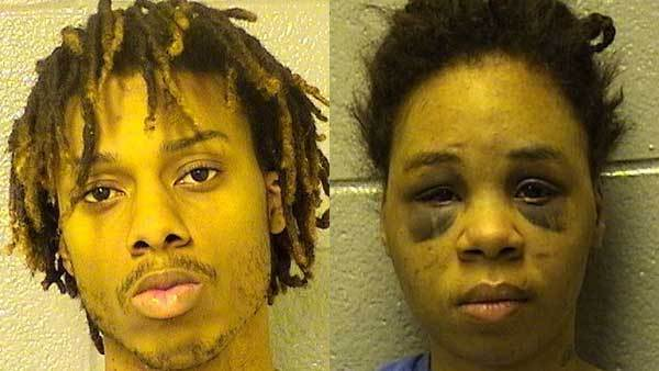 Booking photos of Michael Scott, left, and Lakeshia Baker