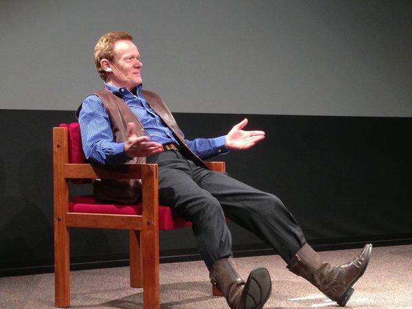 "Philippe Petit, star of the documentary ""Man on Wire,"" taught audience members how to tie knots in promoting his book ""Why Knot?"""