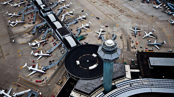 An aerial picture of the control tower at O'Hare International Airport in Chicago.